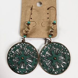 Teal boho dangle earrings